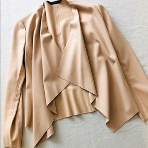 Blush Faux leather and suede shawl jacket